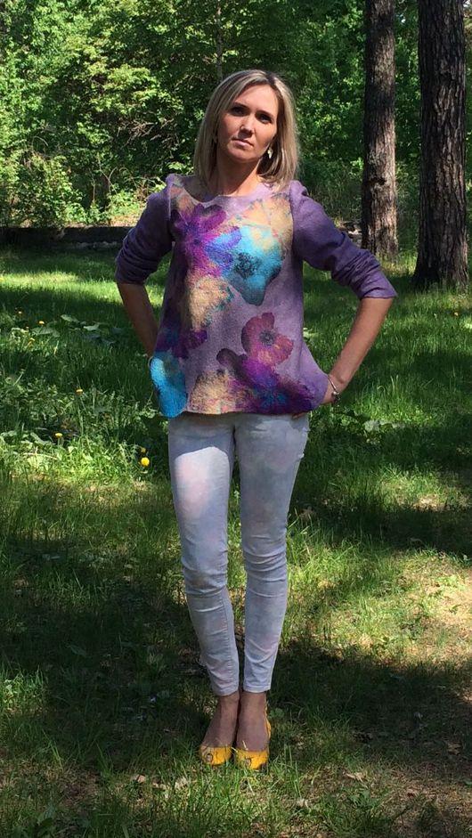 Кофты и свитера ручной работы. Ярмарка Мастеров - ручная работа. Купить Джемпер валяный Виолетта. Handmade. Дизайнерская одежда