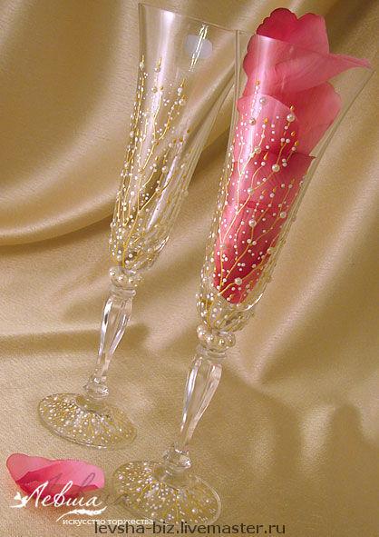 Свадебные аксессуары ручной работы. Ярмарка Мастеров - ручная работа. Купить Свадебные бокалы «Victoria» фирмы Bohemia Crystal. Handmade.