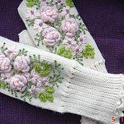"""Аксессуары ручной работы. Ярмарка Мастеров - ручная работа варежки""""Вальс цветов"""" с вышивкой. Handmade."""