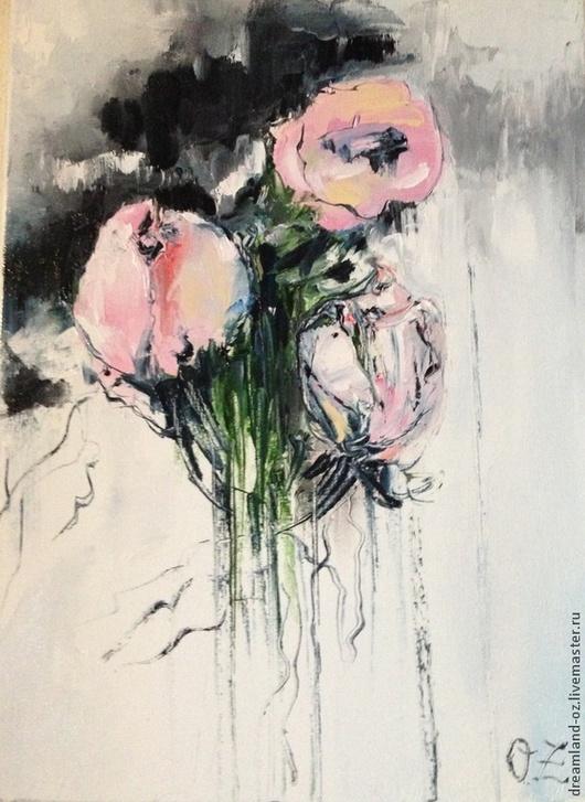 """Картины цветов ручной работы. Ярмарка Мастеров - ручная работа. Купить Картина маслом """" Розовый декаданс"""". Handmade. цветы"""
