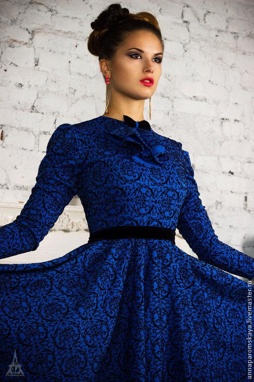 """Платья ручной работы. Ярмарка Мастеров - ручная работа. Купить Платье """"Диор"""". Handmade. Синий, красивое платье"""
