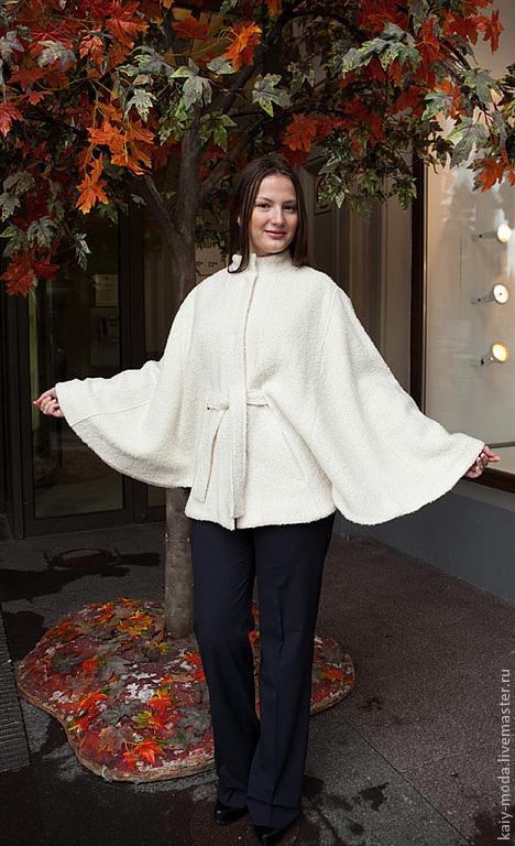 Пончо ручной работы. Ярмарка Мастеров - ручная работа. Купить Куртка-пончо - пальтовая ткань, на подкладке - белый. Handmade. Белый