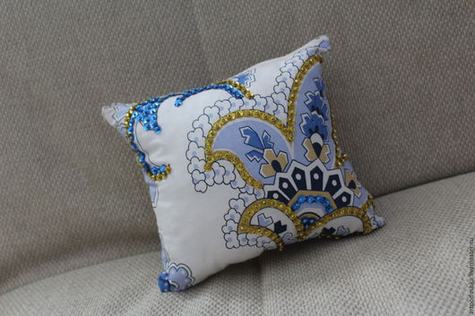 Текстиль, ковры ручной работы. Ярмарка Мастеров - ручная работа. Купить Vitta. Handmade. Белый, голубой, подушка декоративная