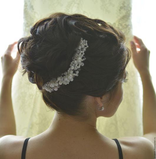 Свадебные украшения ручной работы. Ярмарка Мастеров - ручная работа. Купить Украшение для волос с жемчкгом. Handmade. Белый, украшение