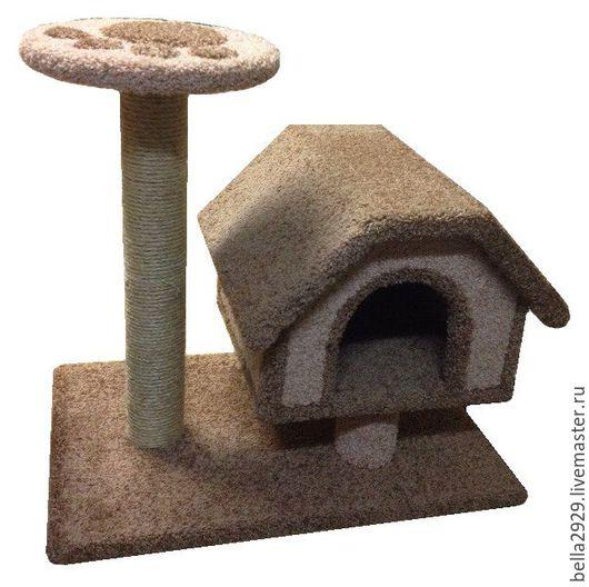 """Аксессуары для кошек, ручной работы. Ярмарка Мастеров - ручная работа. Купить Домик для кошек """"Избушка с полкой"""". Handmade. Когтеточка"""