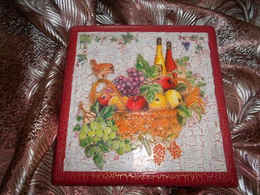 Натюрморт ручной работы. Ярмарка Мастеров - ручная работа. Купить Картина-панно вкусная корзина. Handmade. Дерево, Франция