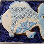 """Сувениры и подарки ручной работы. Ярмарка Мастеров - ручная работа Пряник""""Рыбка""""  расписной, архангельские козули. Handmade."""