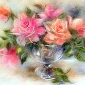 Картины и панно ручной работы. Ярмарка Мастеров - ручная работа Картина из шерсти Розы летнего сада. Handmade.