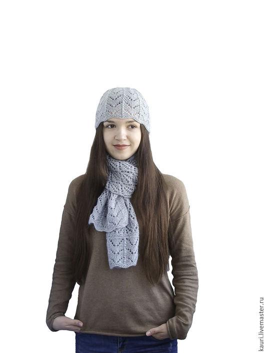 Шарфы и шарфики ручной работы. Ярмарка Мастеров - ручная работа. Купить Ажурный шарф и шапочка Серебро из кид-мохера ручной работы. Handmade.