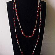 Винтаж handmade. Livemaster - original item Two necklaces Czech garnet glass. Handmade.