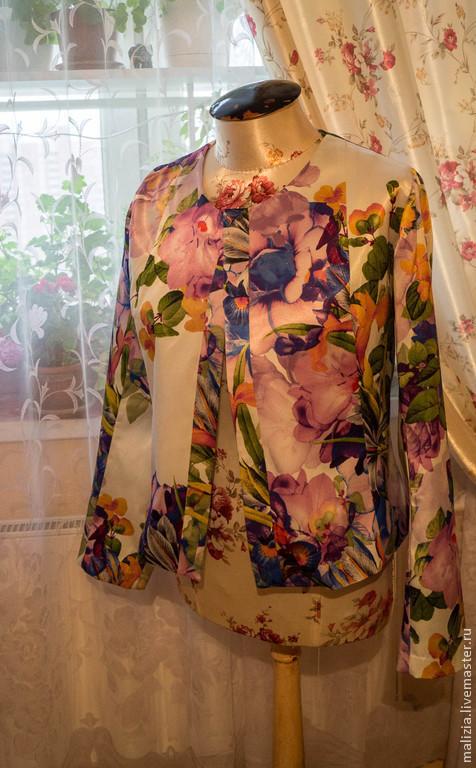 """Пиджаки, жакеты ручной работы. Ярмарка Мастеров - ручная работа. Купить Жакет """"краски лета"""" из сатина Blumarine. Handmade. Цветочный"""