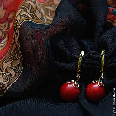 Украшения ручной работы. Ярмарка Мастеров - ручная работа Серьги из коралла красного цвета. Handmade.