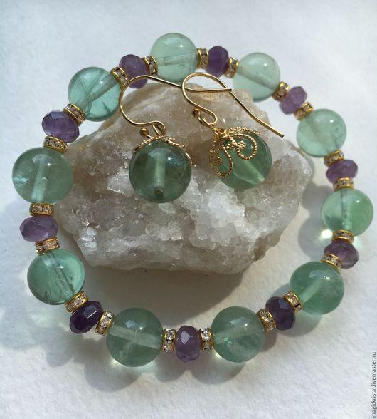 Очаровательный браслет и нежные серьги. Милый летний комплект, приятное сочетание цветов. Основы серёжек фурнитура Gold Filled ( позолота 14К)