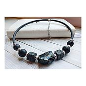 Украшения handmade. Livemaster - original item Choker with obsidian and volcanic lava. Handmade.