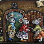 """Для дома и интерьера ручной работы. Ярмарка Мастеров - ручная работа """"Гостеприимные мышки"""" вешалка-ключница. Handmade."""