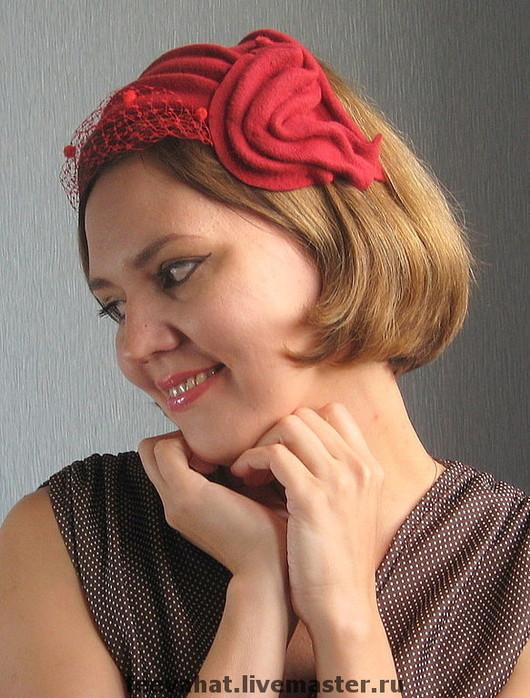 """Шляпы ручной работы. Ярмарка Мастеров - ручная работа. Купить Шляпка-накладка """"Красное """". Handmade. Шляпка, ярко-красный"""