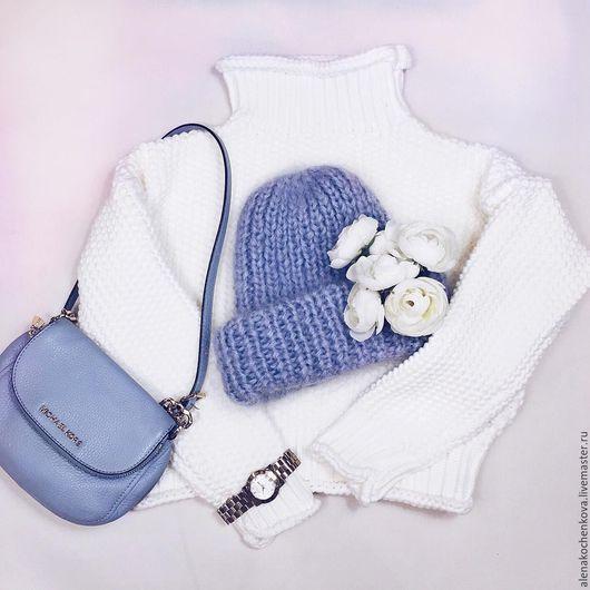 """Шапки ручной работы. Ярмарка Мастеров - ручная работа. Купить Шапочка мохеровая  """"Воздушный синий"""". Handmade. Handmade, шапка зимняя"""