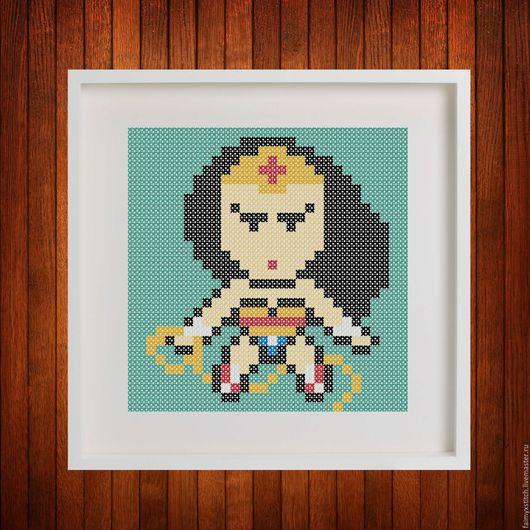 """Вышивка ручной работы. Ярмарка Мастеров - ручная работа. Купить Схема для вышивки крестом """"Супервумен - Superwoman"""". Handmade. Схема для вышивки"""