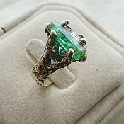 Кольца ручной работы. Ярмарка Мастеров - ручная работа Оплавленное кольцо с изумрудом. Handmade.