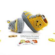 Работы для детей, ручной работы. Ярмарка Мастеров - ручная работа пинетки кеды вязаные пинетки детские подарок новорожденному, желтый. Handmade.