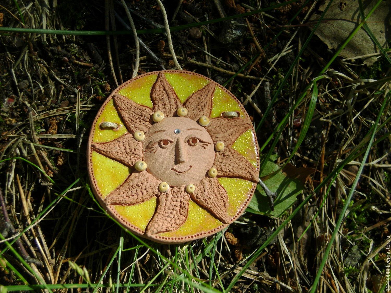 Этно ручной работы. Ярмарка Мастеров - ручная работа. Купить Подвески Солнце Керамика. Handmade. Керамика, желтый, подарок, огонь
