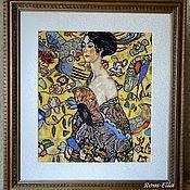 """Картины и панно ручной работы. Ярмарка Мастеров - ручная работа Вышитая картина Г.Климт """"Дама с веером"""". Handmade."""