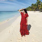 Одежда ручной работы. Ярмарка Мастеров - ручная работа Красное платье в пол « Тропикана-женщина». Handmade.