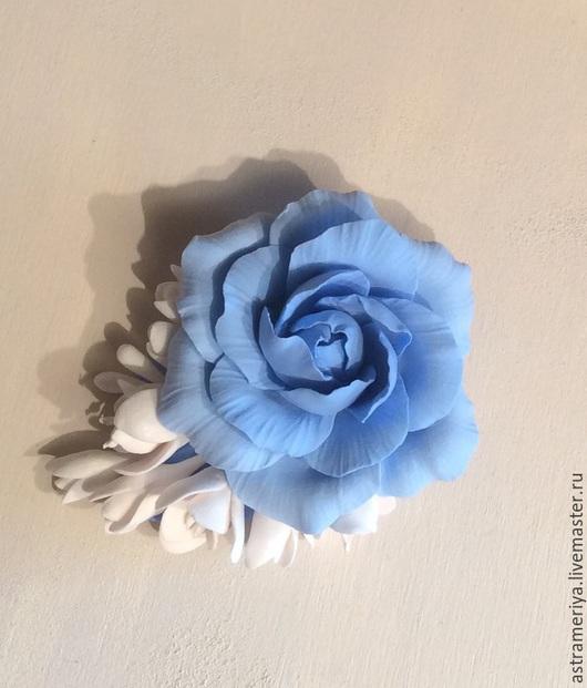 Заколки ручной работы. Ярмарка Мастеров - ручная работа. Купить Заколка зажим для волос Голубая роза. Handmade. Голубой