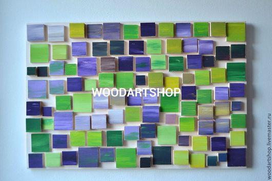 Абстракция ручной работы. Ярмарка Мастеров - ручная работа. Купить Панно мозаика из дерева (70х50). Handmade. Панно, панно в подарок