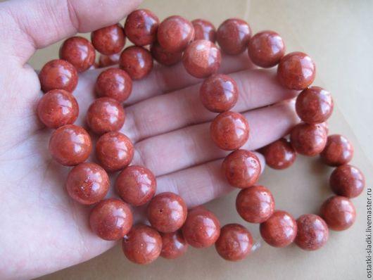 Для украшений ручной работы. Ярмарка Мастеров - ручная работа. Купить Коралл красный бусина шар 12 мм. Handmade.