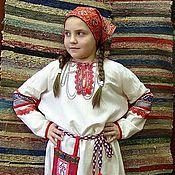 Народные костюмы ручной работы. Ярмарка Мастеров - ручная работа Славянская рубаха для девочки. Handmade.
