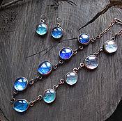 Комплект украшений из синего и голубого стекла. Медные украшения