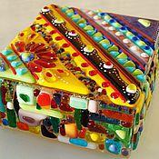 Шкатулки ручной работы. Ярмарка Мастеров - ручная работа Шкатулка из художественного стекла Африка, техника фьюзинг. Handmade.