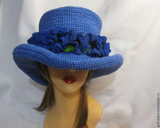 Шляпы ручной работы. Ярмарка Мастеров - ручная работа. Купить ШЛЯПА КОВБОЙКА вязаная. Handmade. Тёмно-синий, мужская шапка