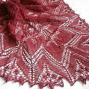 Аксессуары handmade. Livemaster - original item Aeolian Shawl Burgundy openwork knitting. Handmade.