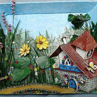 Картины и панно ручной работы. Ярмарка Мастеров - ручная работа Объемное панно Сказочный домик. Handmade.