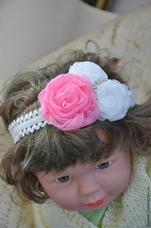Диадемы, обручи ручной работы. Ярмарка Мастеров - ручная работа. Купить Бандо-мягкий ободок для волос Нежнее нежного Розы.... Handmade.
