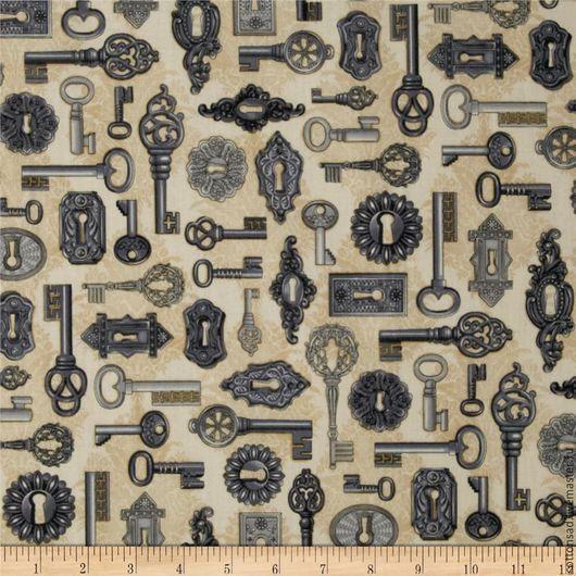 """Шитье ручной работы. Ярмарка Мастеров - ручная работа. Купить Хлопок. (3 вида) """"Часы, ключики"""". Ткани США.. Handmade."""