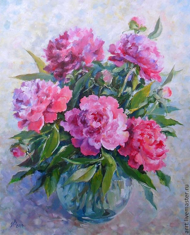 Oil painting Peonies oil on canvas 35на45cm, Pictures, St. Petersburg,  Фото №1