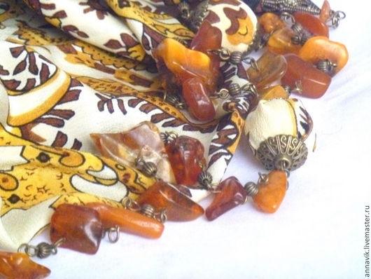 """Колье, бусы ручной работы. Ярмарка Мастеров - ручная работа. Купить Шелковые бусы """"Янтарные чипсы"""". Handmade. Желтый"""