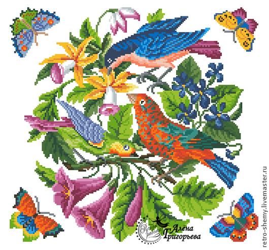 """Вышивка ручной работы. Ярмарка Мастеров - ручная работа. Купить Схема вышивки """"Птичий концерт"""". Handmade. Схема для вышивки"""