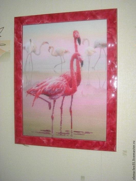 Животные ручной работы. Ярмарка Мастеров - ручная работа. Купить Фламинго. Handmade. Розовый, фламинго, розовый фламинго, картина, вышивка