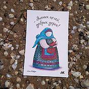 Открытки handmade. Livemaster - original item Postcard with folk doll Podorozhnia