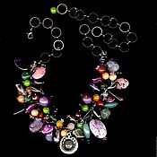 Русский стиль handmade. Livemaster - original item Necklace Ivan Kupala: agate, amethyst, fluorite.... Handmade.