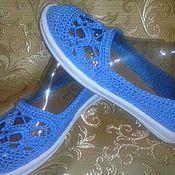 Обувь ручной работы. Ярмарка Мастеров - ручная работа Балетки Голубое небо. Handmade.