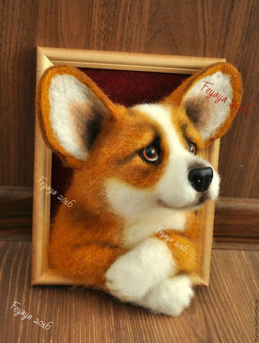 Животные ручной работы. Ярмарка Мастеров - ручная работа. Купить Вельш корги 3D портрет. Handmade. Рыжий, собаки, фетр