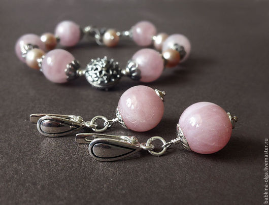 Серьги ручной работы. Ярмарка Мастеров - ручная работа. Купить Серьги В розовом саду, розовый кварц, серебро 925. Handmade.