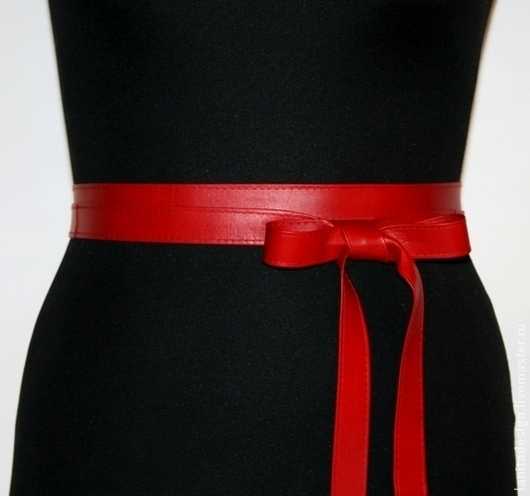 """Пояса, ремни ручной работы. Кожаный пояс-лента """"Sash Red"""". Кожаные пояса и браслеты Lanita Design. Ярмарка Мастеров."""