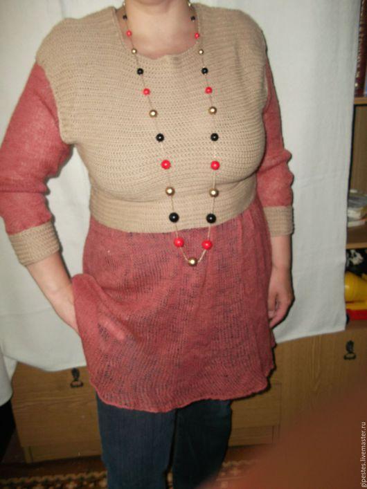 Платья ручной работы. Ярмарка Мастеров - ручная работа. Купить Вязаное платье -пуловер.Для примера.. Handmade. Коралловый, практично