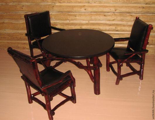 Мебель ручной работы. Ярмарка Мастеров - ручная работа. Купить Стол и кресла из сосновых веток. Handmade. Бордовый, массив сосны